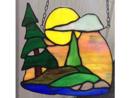 Sunrise on the Lake stained glass wall-hanging