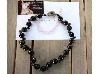 Black Onyx Bead Necklace / Sterling Silver Clasp by Bella Jewels - Opening Bid Reduced