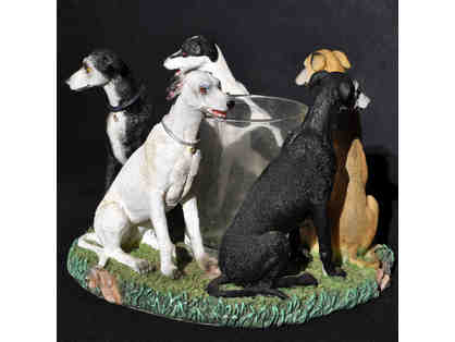 Greyhounds (5) Seated in Circle - Resin - Votive Candle Holder by Continental Creations