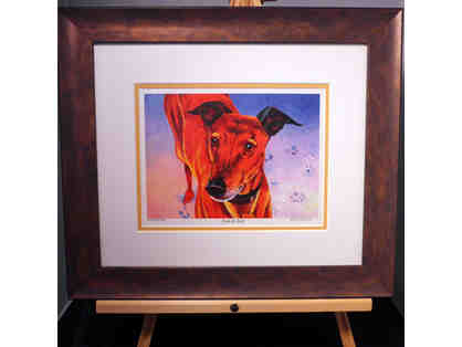 "Greyhound - ""Fire and Ice"" Print - Framed & Matted - by Kent Roberts - Opening Bid Reduced"