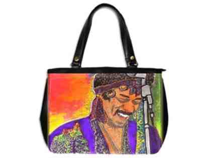 """JIMI'S SMILE"": ! Leather Art Tote: Custom Made IN THE USA! Exclusive To ART4GOOD Auction"