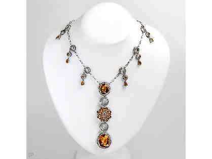 """ 1 ONLY!"":COUTURE DIAMOND AND CITRINE NECKLACE! Independent Appraisal ! Value $11,390.00"