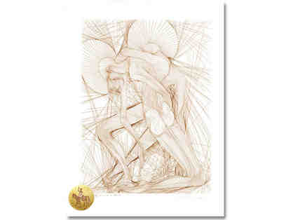"0-INV: ""L'Homme de la Manche"" by Azoulay: Ltd Edition RARE Etching w/24kt Gold Leaf"