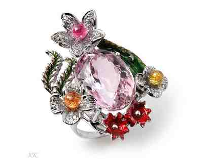 """ 1 only: 18 kt White Gold, Ultra Couture Ring"" : 26.96 carats of EXOTIC GEMSTONES!"