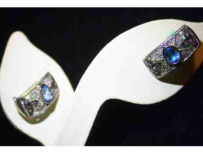 BLUE TOPAZ, DIAMOND EARRINGS WITH TANZANITE ACCENTS!