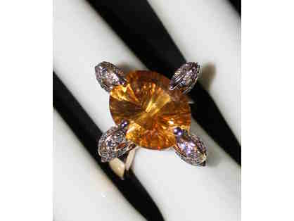 """ 1 ONLY ULTRA COUTURE RING!"" QUANTUM CUT DEEP COLOR CITRINE AND CHOCOLATE DIAMONDS!"