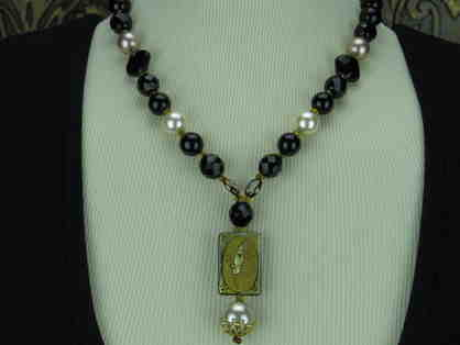 1/Kind Necklace! Deluxe Art Pendant, South Sea Shell Pearls, Genuine Onyx are featured!