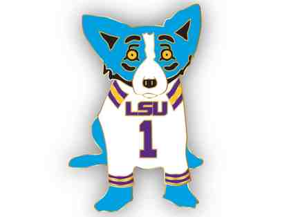 Blue Dog Lapel Pin, LSU + signed Wendy Rodrigue Book