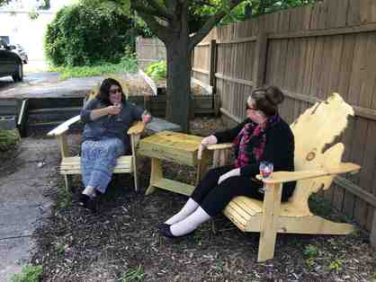 Handcrafted Wood Michigan Adirondack Chairs and Center Table