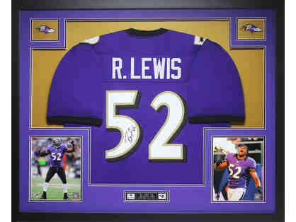Ray Lewis Autographed Baltimore Ravens 35X43 Framed Jersey + Golf Club Headcovers
