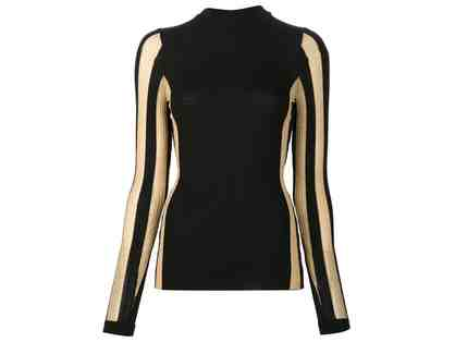 Bonnie Young Striped Knit Wool Stretch Sweater in Black and Gold Size Large