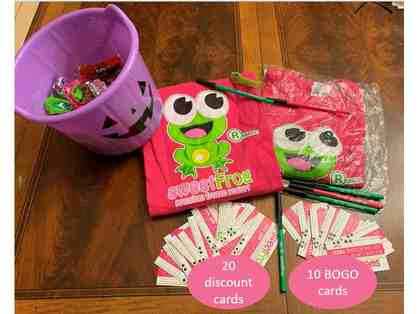 SweetFrog Shirts, BOGO cards, and Discount cards