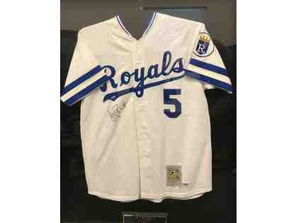 George Brett Autographed Hall of Fame 1999 Framed Jersey Kansas City Royals