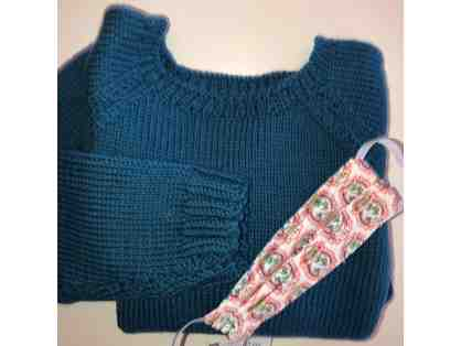 Hand Knit Sweater - Children's Size & One Child SIze Face Mask
