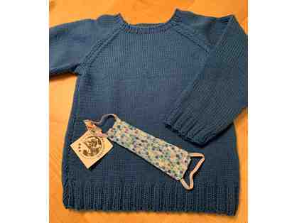 Hand Knit Sweater for a Child - Ages 4 to 6 years old and One Child SIze Face Mask