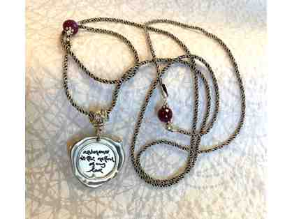 "Mindful Necessities: Silver ""reverence is the nature of my love"" Necklace with Garnets"