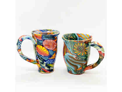 2 Multicolored Coffee Mugs from LightWave Pottery