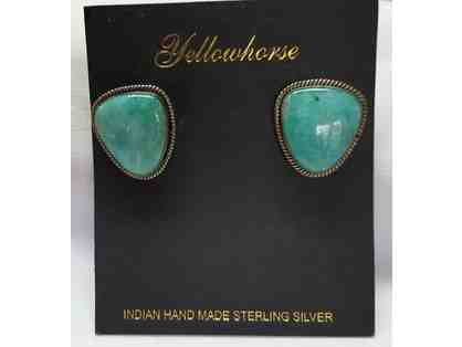 Amazonite and Sterling Silver Earrings by Artie Yellowhorse