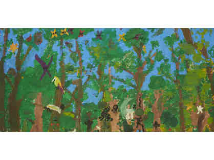 1st Grade Artwork - Rainforest, 2017, acrylic on canvas, 28 x 58 inches