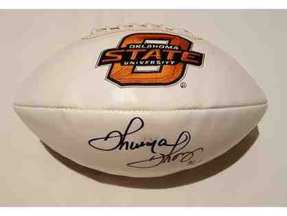 Oklahoma State football autographed by Thurman Thomas