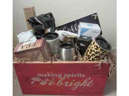 """Making Spirits Bright"" Gift Crate filled with Hot Beverage Treats"