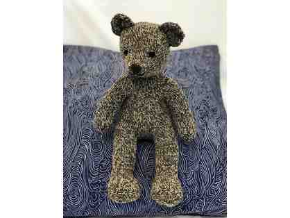 "Hand Knitted Bear (14"" tall, speckled brown) by Miss Theresa"