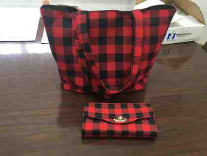 Buffalo Plaid Tote Bag & Matching Wallet (Handmade Locally)