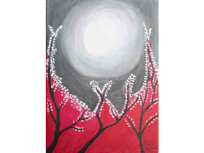Original Painting by Ihab Sooda - Moon Over Trees