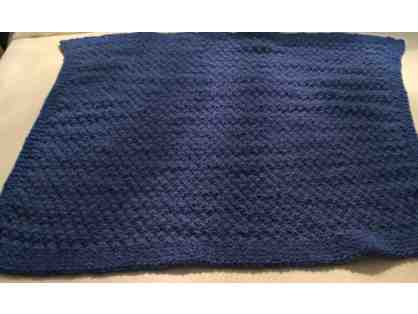 Hand Knit Navy baby blanket