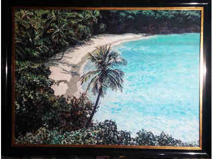 aerial tropical seascape large oil on board