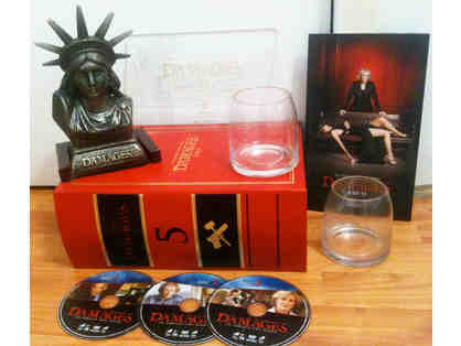 DAMAGES -- Paperweight, Drinking Glasses, Glossy Pics, Premiere Invite & Season 5 DVDs