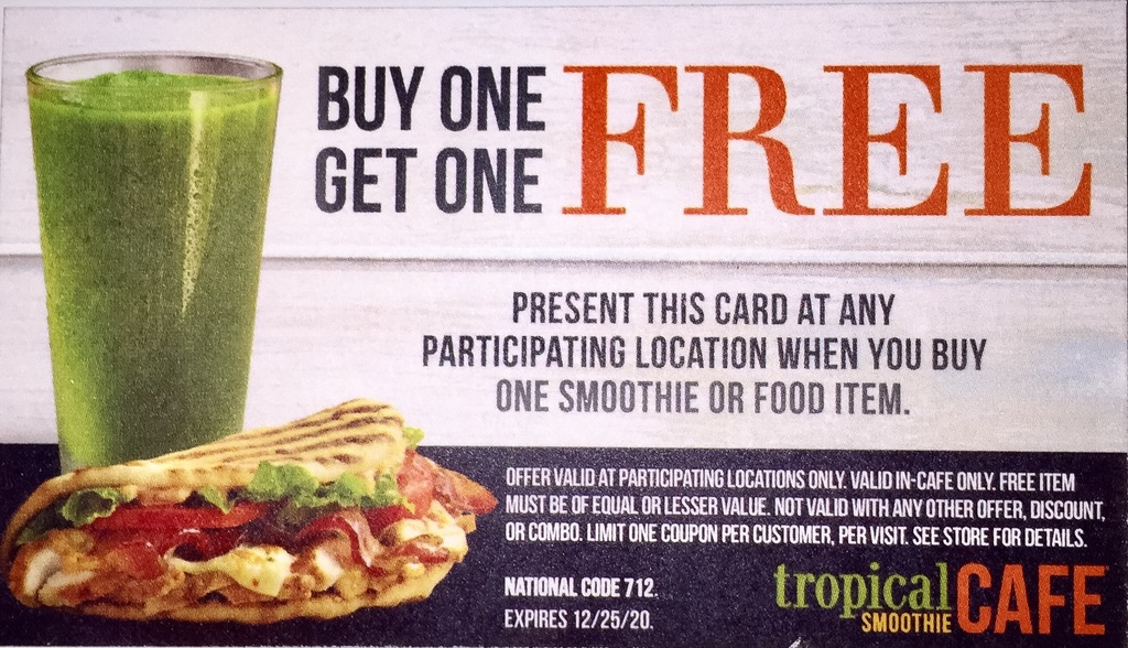 picture about Tropical Smoothie Coupons Printable known as Tropical smoothie coupon : Inexpensive automobile rentals bronx ny