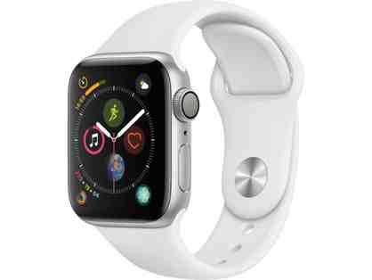 Apple Watch Series 4 in Silver/White Sports Band with GPS