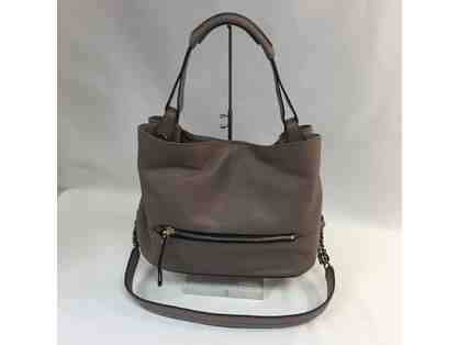 YANY Italian Leather Satchel with Chain Strap in Gray