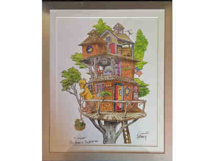 "Autographed Caroll Spinney Print ""Big Bird's Tree House"""