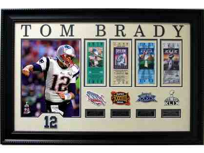 Tom Brady 4x Super Bowl Champion Collage with 4 Game Tickets