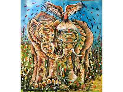 """To Save Elephants Around the World"" Hand painted in Africa by artist Emma Kavuma!"