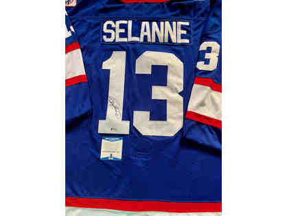 Autographed Hockey Jersey signed by Teemu Selanne