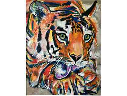 INDIAN TIGER DOS PAINTING Signed By artist Bradley Davis