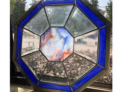 Beveled in Blue Octagon Stained Glass