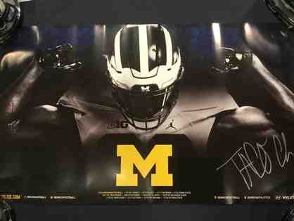 Taco Charlton autographed Michigan poster