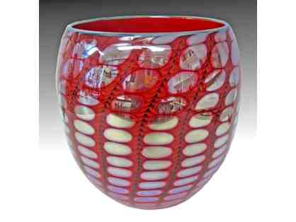 "Hand Blown Glass ""Reptilian Bowl in Red"" by Tom Philabaum"
