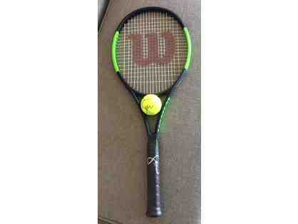 Serena Williams Autographed Tennis Ball & Racket (P)