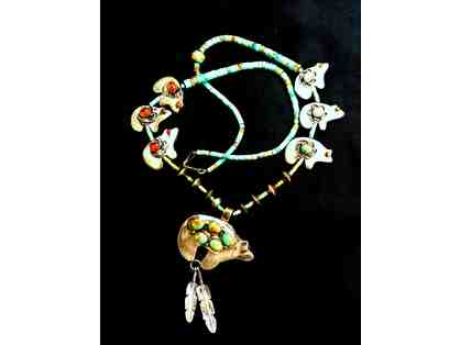 Native American Turquoise, Silver & Amber Necklace