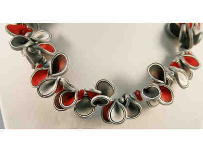 Gorgeous Silver and Red Handmade Clay Necklace