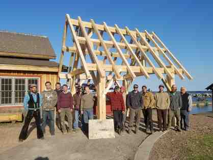 Hand hewn Timber frame created by North House students