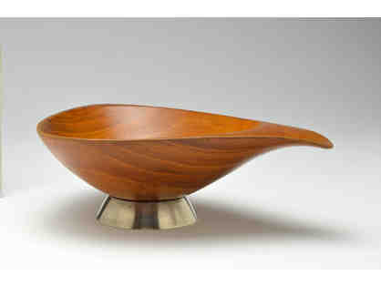 Teak bowl with silver base - Emil Milan