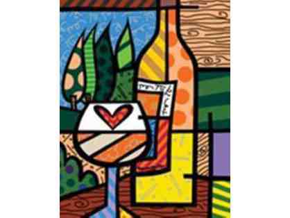 "Original Print By Romero Britto- ""Wine Wine"""