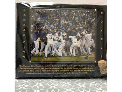 Royals 2014 American League Champion Plaque w/ locker room party cork