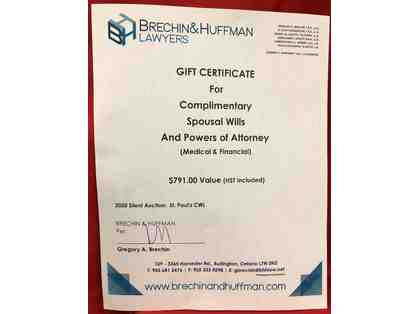 A+ Spousal Wills & Powers of Attorney (Medical & Financial) Gift Certificate